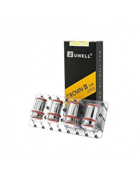 Uwell Crown 3 Replacement Coils 4pcs/Pack - 0.25ohm/0.50ohm 1