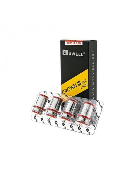 Uwell Crown 3 Replacement Coils 4pcs/Pack - 0.25ohm/0.50ohm 2