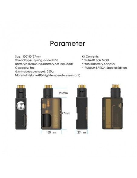 VandyVape Pulse BF Kit Squonk Box Mod With 8ml Pulse 24 BF RDA 1