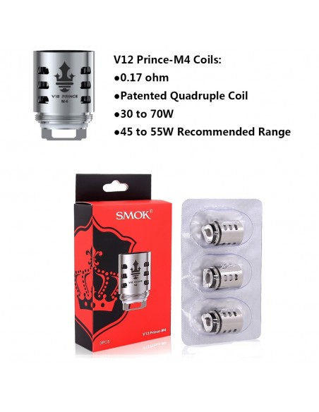 SMOK TFV12 PRINCE Replacement Coil 3pcs V12 Prince M4 0.17ohm:0 3pcs:1 Standard:2 US:3 US